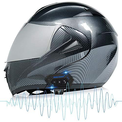 COKECO Casco De Moto Modular Bluetooth Integrado Marcación por Voz/Llamada Manos Libres Casco De Motocicleta con Visera Solar Doble Certificado ECE/Dot Adulto Unisex (52-60 CM)