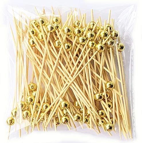 Lming Cocktail-Sticks 100 zählt hölzerne zahnstocher Partei liefert rüschen Finger Essen früchte Sandwich knabber - Goldene Perlen