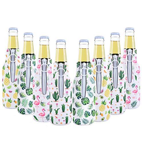 Set of 8 Beer Bottle Sleeves - Neoprene Thermocoolers Zip-up Bottle Jackets Bottle Sleeves Beverage Drink Insulator Cooler Tropical Summer Beer Caddies for Pool Beach Party Favors