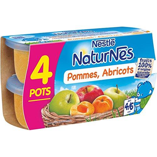 NESTLE NATURNES Compotes Bébé Pommes Abricots - Dès 4/6 mois - 4x130g - Pack de 6 ( 24 Compotes )