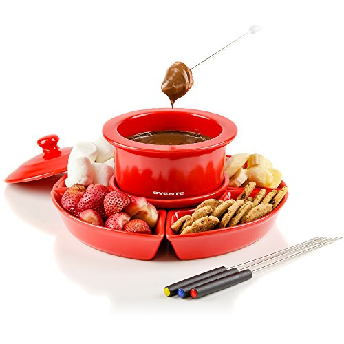 Ovente Electric Fondue 1 Liter Melting Pot and Warmer Set with Lid, Ceramic Removable Food Tray, 4 Color Dipping Forks, Perfect for Chocolate, Caramel, Cheese and More, Red (CFC317R)