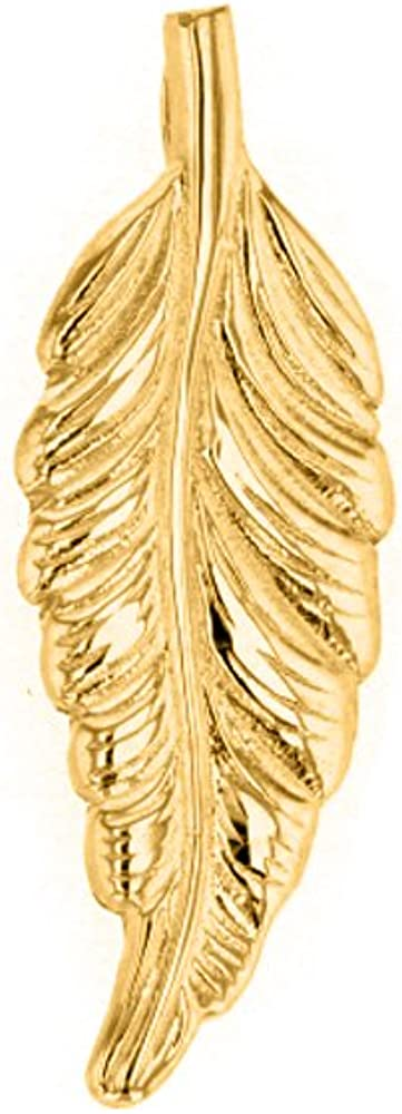 Solid 14k Yellow Gold Bohemia Leaf Feather Charm Pendant