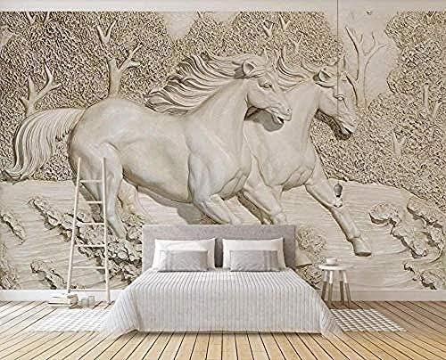 Papel pintado de árbol en relieve de caballo blanco corriendo Pared Pintado Papel tapiz 3D Decoración dormitorio Fotomural de estar sala sofá mural-430cm×300cm