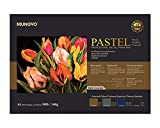 MUNGYO Professional Pastel Paper Pad A4 Size for Oil Pastel, Dry Pastel 30 Sheets (Dark Assorted)