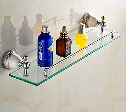 FAFZ Porte Double-serviettes, salle de bains Accessoires de style européen, salle de bains étagère en verre (couleur : 1#)