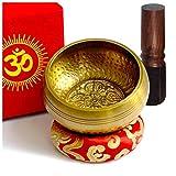 TARORO Bol Chantant Tibétain Fait Main au Népal 12cm Original Ancien 7 Métaux Excellente Son Fuseau en Palissandre Coussin de l'Himalaya Set Box de Papier Cadeau Parfait (12)