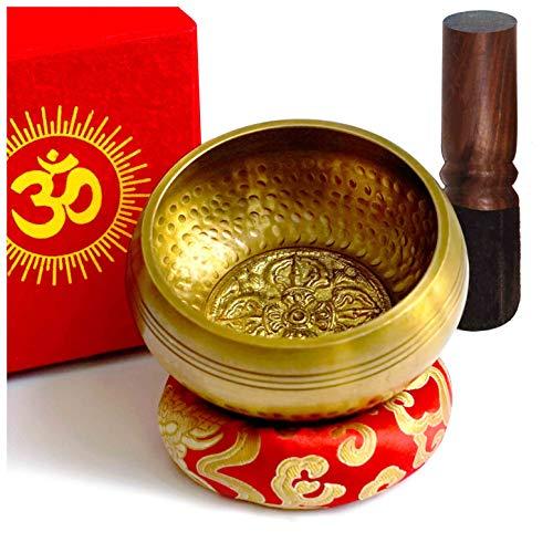 TARORO Tibetische Klangschale Set Große aus Nepal 12cm Singing Bowl Handgemachtes mit Klöppel und Kissen Loktapapier Geschenk Box für Buddhistische Meditation Yoga Therapie