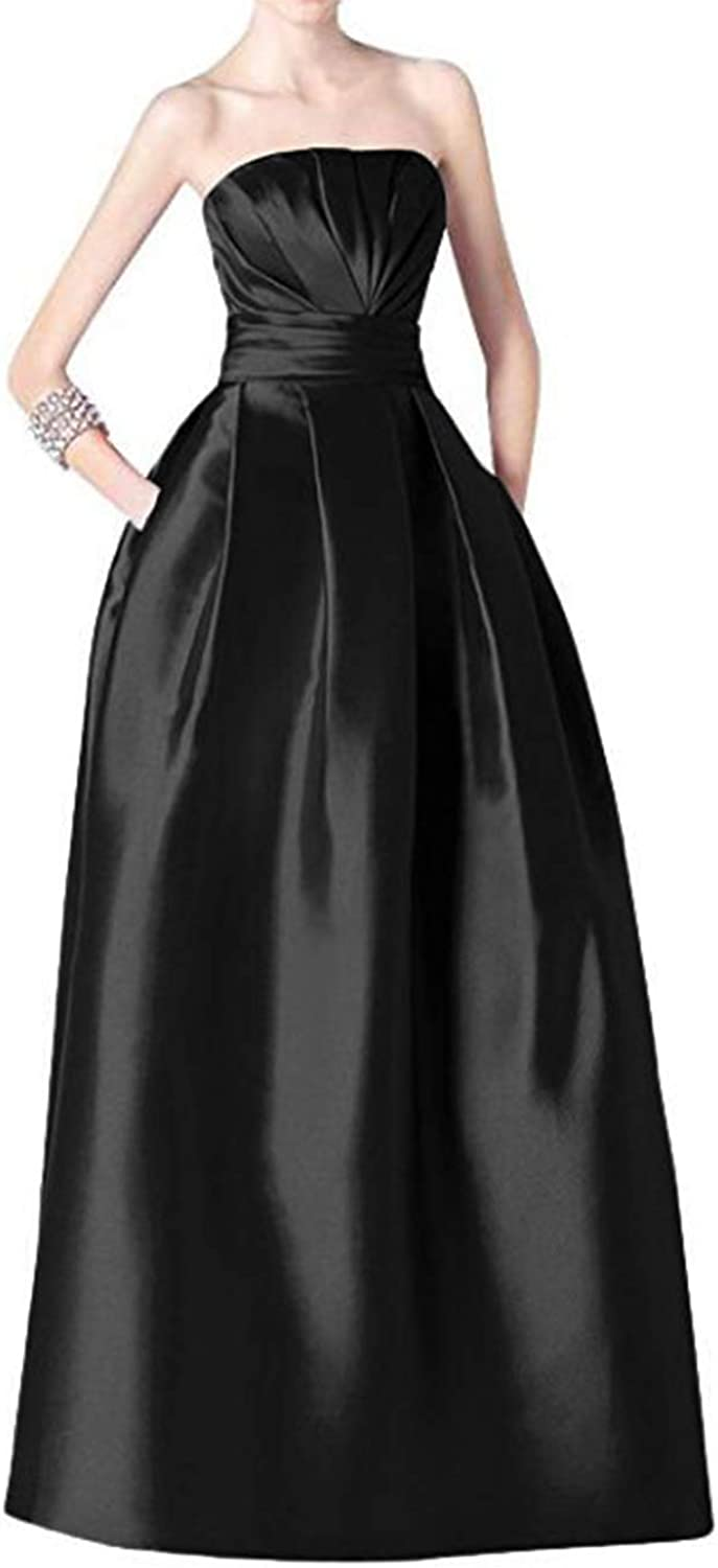Alilith.Z Sexy Strapless Ruched Satin Prom Dresses Long Formal Evening Dresses Party Gowns for Women with Pockets