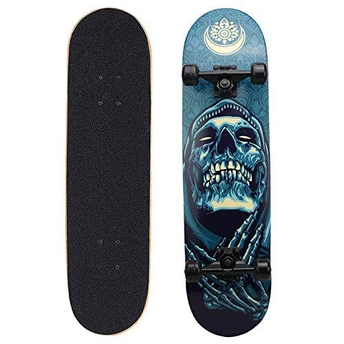 Eseewin Skateboard 9 Layers Decks 31'x 8' PRO Skateboard Completo in Legno d'Acero Longboard per Adolescenti Adulti Principianti Ragazzi Ragazze Bambini(Shantou)