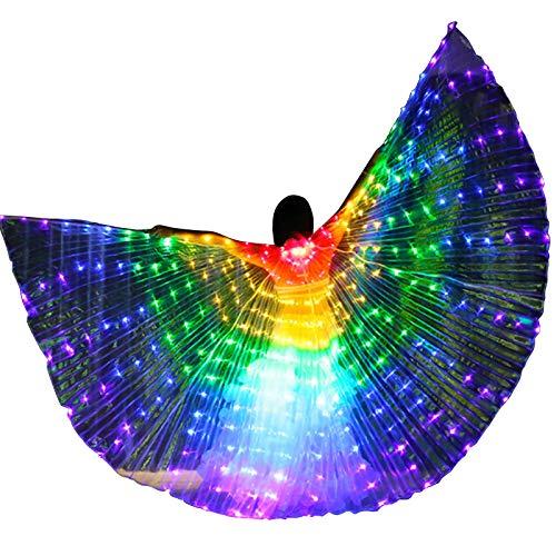 Zebery LED Flügel für Erwachsene, LED Schmetterling Isis Flügel LED Isis Wings Glow Light Up Bauchtanz Kostüme