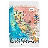 artboxONE Poster 120x80 cm Reise Kalifornien Illustrierte