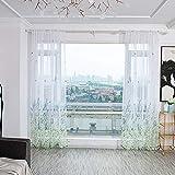 Boyouth Cortinas de gasa con estampado de mariposas, flores y hojas, color blanco, con bolsillos para barra, cortinas y cortinas para dormitorio, estudio, sala de estar