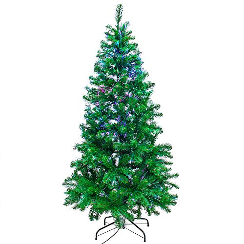 Signstek Prelit Fiber Optic Christmas Tree with 550 PVC Tips, 21 Flash Modes and Solid Metal...