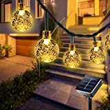 BOZHZO - Cadena de luces solares para exteriores, 50 bolas LED, 7 m, cristal blanco cálido, 8 modos, IP65, resistente al agua, árboles, Navidad, bodas, fiestas, interiores y exteriores