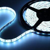12V超高輝度 5M 600連 LEDテープ 防水 切断可能 白ベース/LEDグリーン 強力粘着両面テープ 正面発光 SMD 2835 (ホワイト)