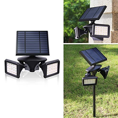 Outdoor Solar Light, Motion Sensor Security LED Light Dusk to Dawn Wireless, 2-in-1 Solar Powered Landscape Spot Lights Waterproof for Yard Driveway Lighting, Egreat (Black, Solar Flood Light)