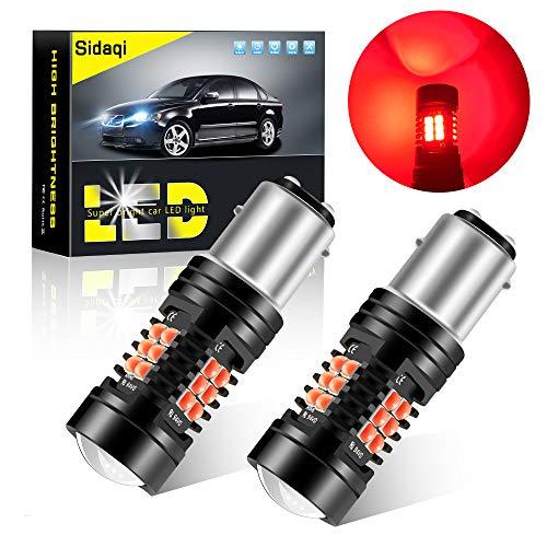 Sidaqi 2X 1157 BAY15D P21/5W bombilla LED luz de freno del coche luz de estacionamiento luz trasera luz antiniebla trasera 21SMD 3030 chip diseño de doble lente luz LED impermeable 12V-rojo