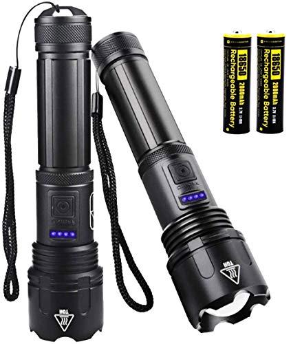WholeFire Pack de 2 linternas LED superbrillantes, 3000 lúmenes, recargable por USB, potente, XHP50, linterna portátil con zoom, para camping al aire libre