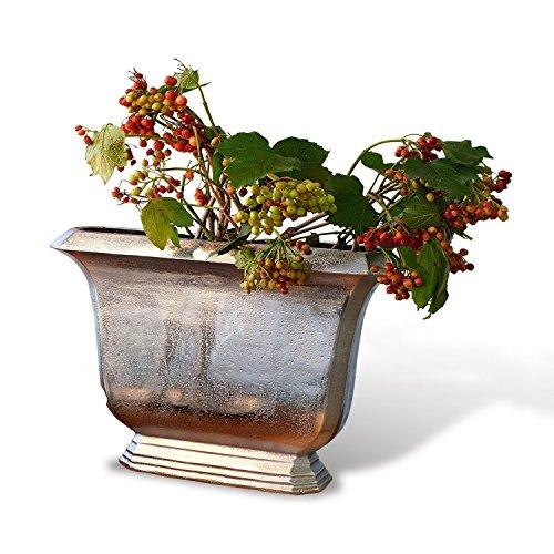 Loberon Vase Dakota, Aluminiumguss, H/B/T ca. 27/36 / 9 cm, Silber