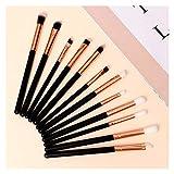 12 unids Detalles Profesionales Detalles Eyeshadow Conjunto de cepillos de maquillaje con bolsa de almacenamiento mezcla delineador de ojos Eyelash ceja cepillo resaltado pinceles de maquillaje maquil