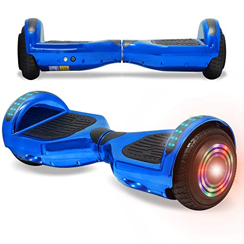 NHT Electric Smart Self Balancing Scooter Hoverboard LED Wheels Side Lights- UL2272 Certified (Chrome-Blue)