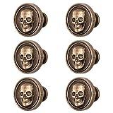 LEE House 6 Piece Vintage Skull Knob Cabinet Cupboard Drawer Pull Handle Hardware (Bronze)