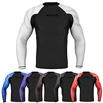 Sanabul Essentials Long Sleeve Compression Training Rash Guard for MMA BJJ Wrestling  X-Large White