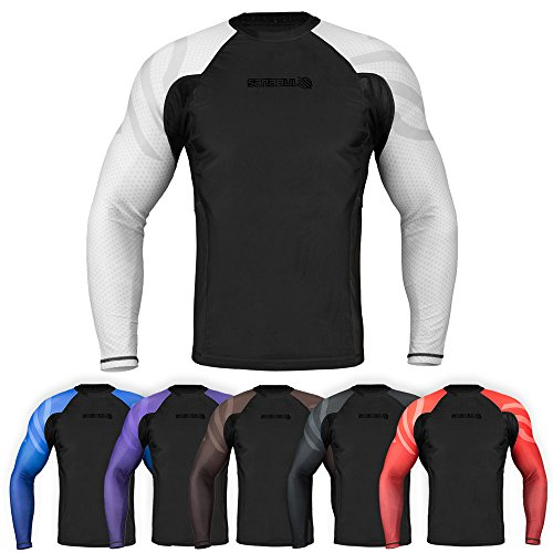 Sanabul Essentials Long Sleeve Compression Training Rash Guard for MMA BJJ Wrestling (Small, White)