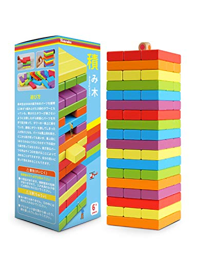 Homraku 木製バランスゲーム 立体パズル 積み木ブロック ドミノブロック テーブルゲーム 子供も大人も老若男女楽しめる おもちゃ (6カラー 54PCS)