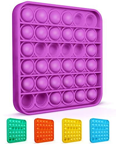 Colplay Pop Pop Fidget ToysPush Pop Bubble Fidget Sensory ToyAutism Special Needs Silicone Stress Relief ToyGreat Fidget Toy Sensory Toys Novelty Gifts for Girls Boys Kids Adults(PurpleSquare)