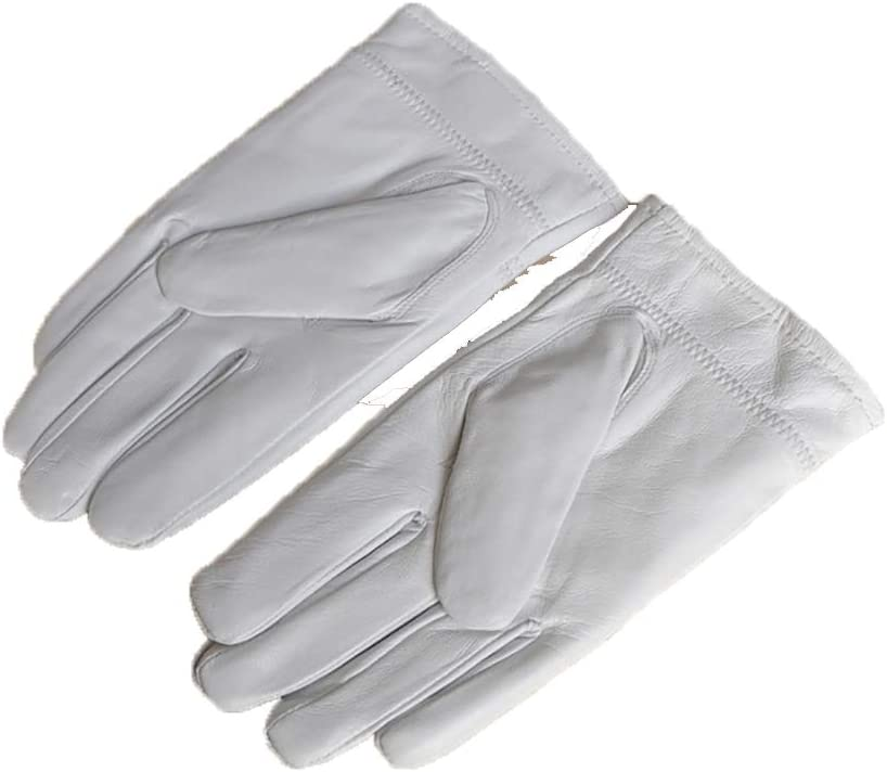 Genuine Leather Gloves Winter Warm Wool Lining Mittens Manufactured from Genuine Leather Gloves,White,Male20~22CM