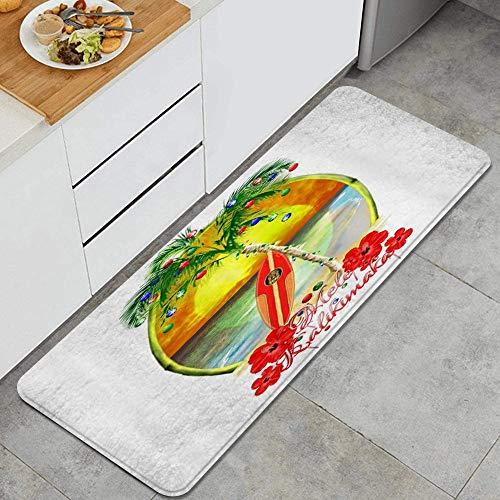 JOSENI Anti Fatiga Cocina Alfombra del Piso,Tabla de Surf Mele Kalikimaka,Antideslizante Acolchado Puerta Habitación Bañera Alfombra Almohadilla,120 x 45cm