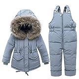 LSHEL - Traje de nieve para bebé, juego de ropa de invierno para niños, chaqueta de plumón para niña gris 2-3 Años