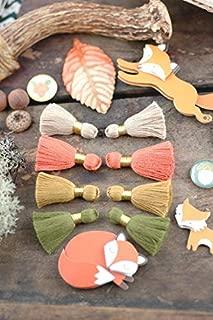 Foxy Fall Mix Mini Tassels, Gold Binding, Tan, Cadmium Orange, Oak Buff, Desert Sage Handmade Jewelry Making Supply 1.25