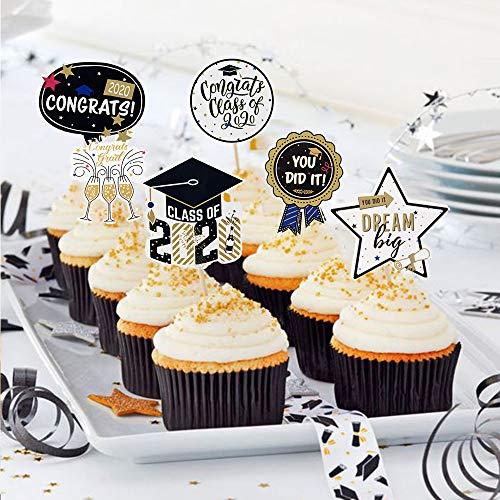 SUNBEAUTY Abschluss Cupcake Toppers 24er Graduierung Kuchendeko 2020 Abschlussfeier Muffin Dekoration Graduation Party Tortendekoration
