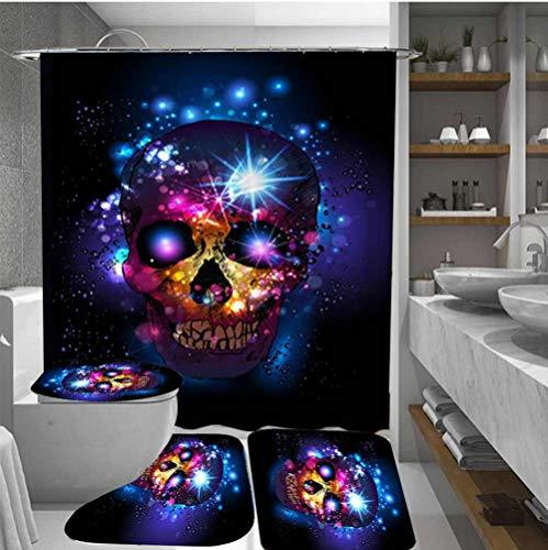 Viccc Scary Rusty Rotten Skull Halloween Duschvorhang rutschfeste Badematte Set Wasserdicht Polyester Badezimmermatte Teppich Deckel Toilettendeckel