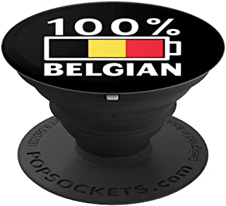 Belgium Flag Design | 100% Belgian Battery Power Tee - PopSockets Grip and Stand for Phones and Tablets