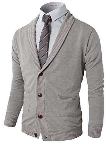 H2H Mens Slim Fit Full-Zip Kintted Cardigan Sweaters with Twist Patterned Gray US L/Asia XL (CMOCAL07)