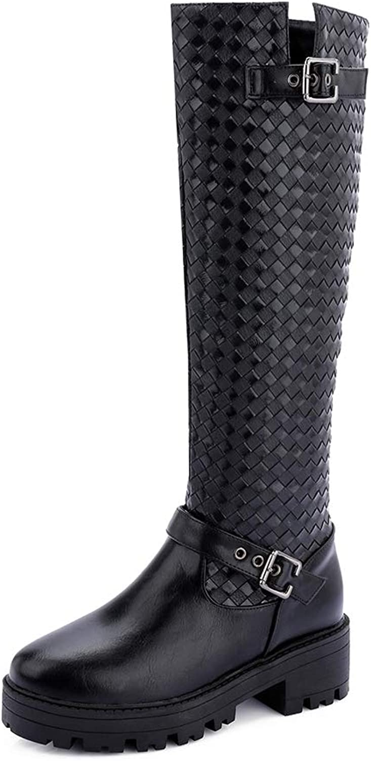 T-JULY 2018 Large Sizes 33-43 Cool Woman Riding Boots Fashion Leisure Square Heels Women's shoes Woman Knee-high Boots