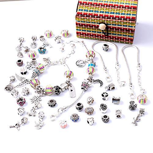 Queta Set di Braccialetti con ciondoli Perle Artigianali placcate in Perle con Kit di creazione di Gioielli con Catena in Argento per Braccialetti Gioielli con Catena a Serpente Fai-da-Te