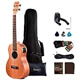 Left Handed - Caramel CB402L All Solid Mahogany Baritone Acoustic/Electric Ukulele with Truss Rod with D-G-B-E Strings & free G-C-E-A strings, Padded Gig Bag, Strap and EQ cable