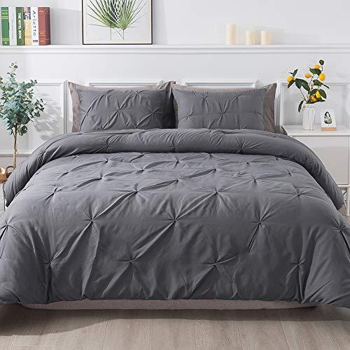 Andency Dark Gray Pinch Pleat Comforter Queen(90x90Inch), 3 Piece(1 Pintuck Comforter and 2 Pillowcases) Grey Pintuck Microfiber Down Alternative Comforter Bedding Set