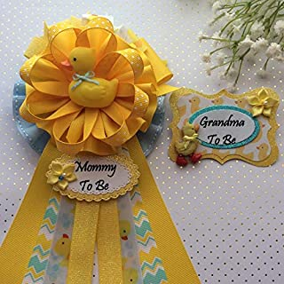 Rubber Ducky Baby Shower Corsage, Rubber Duck Theme Mommy & Grandma To Be Corsage Pin Set, Yellow & Blue Rubber Duck Baby Shower