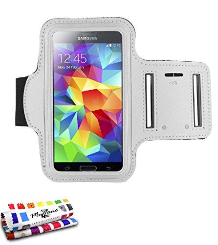 MUZZANO F433409 Fascia da Braccio in Neoprene per Samsung Galaxy S4 Advance, Colore: Bianco