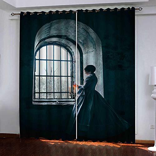 Gordijnen ondoorzichtig meisje op het raam verduisteringsgordijn oogjes gordijnen gordijnen polyester ondoorzichtig koude- en warmte-isolatie gordijnen slaapkamer set van 2 280cm Width x 180cm Drop