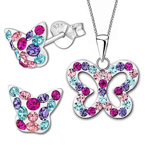 3piezas joyas set (nº k355, K356+ cadena) mariposa pendientes colgante collar cadena para niños niña mujer pendientes 925plata de ley 925plata