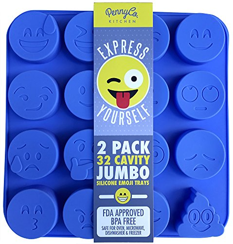 Jumbo Sized Silicone Emoji Molds - 32 Cavity 2 Pack Set by PennyCo Kitchen
