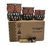 SusggO Set de 3 Buhos de Madera, Decoracion, Tallado a Mano, Buho de la Suerte, Idea Artesania Adorno Mueble (Marron Chocolate NAR Mod 2)