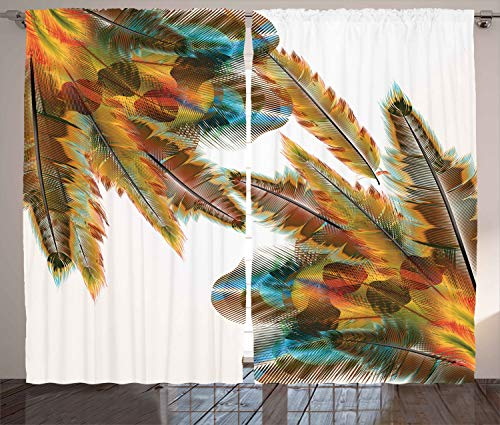 """Ambesonne Tribal Curtains, Feathers Bohemian Lifestyle Featured Prehistoric Hippie Image, Living Room Bedroom Window Drapes 2 Panel Set, 108"""" X 96"""", Apricot Sepia"""