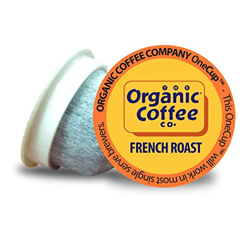 The Organic Coffee Co. French Roast 36 Ct Dark Roast Compostable Coffee Pods, K Cup Compatible including Keurig 2.0